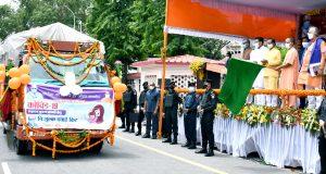 मुख्यमंत्री ने कोविड-19 लक्षणयुक्त 18 वर्ष आयु तक के बच्चों हेतु निःशुल्क दवाई किट वितरण वाहनों को हरी झण्डी दिखाकर रवाना किया